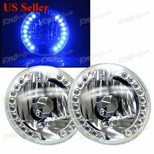 "7"" H6014 H6015 H6017 CAR ROUND 18 BLUE LED RIM REFLECTOR HEADLIGHT CLEAR LENSS"