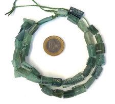 150 BC ANCIENT FRAGMENTS SHARDS OF ROMAN GLASS BEADS 1 STRAND AQUA GREEN AFGHAN