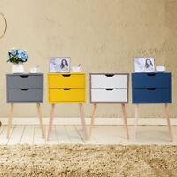 Wooden End Tables Bedside Table Nightstands Bedroom Furniture 2 Drawers Storage