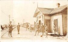 RPPC MEXICAN BORDER WAR SOLDIERS ON GUARD MILITARY REAL PHOTO POSTCARD (c. 1916)