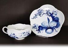 """Meissen Teetasse Teegedeck  """" blaue Orchidee auf Ast """" von Prof. Heinz Werner"""