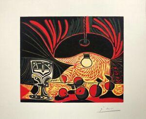 Pablo Picasso, Natura morta con bicchiere, 32x39 litografia signed