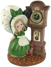 Vintage 1974 Byron Molds Ceramic Bonnet Girl With Cat Grandfather Clock