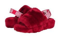 UGG Fluff Yeah Women's Slide Goat Sandals In Ribbon Red 1095119 RBRD