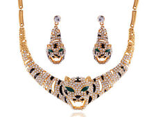 Alimarket Gold Tone Eye Striped Tiger Rhinestone Earring Necklace Set Jewelry