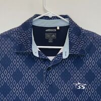 Adidas Climacool Mens Geometric Golf Polo Blue Medium