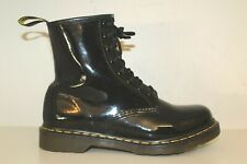 Dr Martens Womens Ankle Boots Sz 9 / 41 8 Eyelet Black Patent Leather Shoes