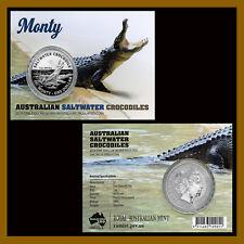 "Australia 1 Dollar Silver Frosted Coin, 1 oz 2016 ""Monty"" Saltwater Crocodiles"