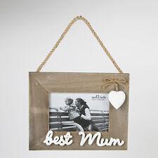 "Sass & Belle Farmhouse Chic Wooden ""Best Mum"" Hanging Photo Frame 20x16cm"
