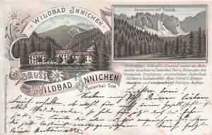 AK GRUSS aus WILDBAD INNICHEN, PUSTERTHAL, SÜDTIROL, LITHO Schwidernoch,1896 Ita