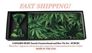 CANNABIS BLISS Marijuana Pot Tuxedo Cummerbund and Bow Tie Set NEW CBCB1