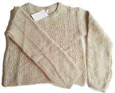 Strick Pullover Gr.134 /140 H&M NEU beige meliert Ajour kinder warm winter