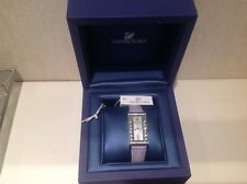 Swarovski Genuine ladies, Crystal Square watch, Lilac Leather Strap Quartz
