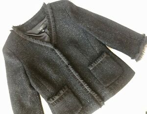 Talbots Black Glitter Shimmering Ruffle Jacket Blazer Peplum Snap Wool~size 2