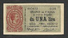 Italy Lire 1 q FDS / a UNC UMBERTO I° Decr. 02-08-1894 RRR 3 !!! Falso D'Epoca