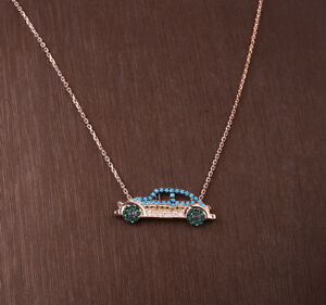 CAR TURQUOISE ROSE GOLD COLORED OVER .925 STERLING SILVER NECKLACE #33939