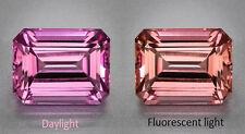 Mahenge Garnet - Rare - Hot Pink to Peach Change - 2.18 Carat - Emerald Cut