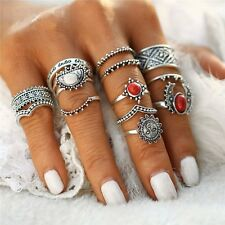 Boho Retro Women Silver Gem Finger Knuckle Rings Punk Ring Gothic Jewelry Gift