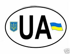 Ukrainian Car Bumper Sticker UA Country Name Code Tryzub Flag Coat of Arms