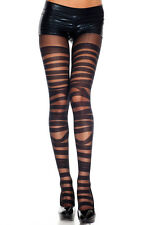 Black Sheer + Opaque Bandage Design Spandex Tights Sexy Designer Lingerie P7296