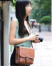 Brown Faux Leather DSLR SLR Digital Camera Shoulder Sling Satchel Bag For Canon
