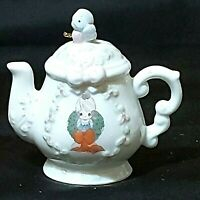 "Vintage Precious Moments Teapot Ornament Surrounded w/Joy 1994 3-1/2"" Preowned"
