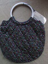 Vintage Jontue Revlon Forget Me Not Navy Blue Quilted Floral Bag Purse Tote