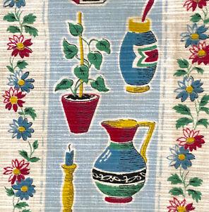 1950s VINTAGE COTTON FABRIC - LOVELY KITCHENALIA DESIGN