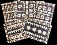 "Vintage Handmade FIJI 12x19"" Bark TAPA CLOTH Tiki Dinner Placemats (RF935)"