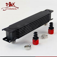 Universal 7 Row AN10 Engine Transmission 248mm Oil Cooler w/ Fittings Kit Black