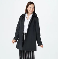 Susan Graver Water-Resistant Jacket with Pop Color Lining and Hood - Black - 2X