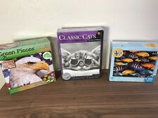 Lot of 3 Puzzles - Americans, Classic Cats, School of Fish - Jig Saw Puzzles