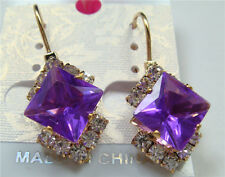 Czech Crystal Pierced Earrings hr81 charm Stylish Fashion Silver Plated