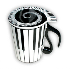 Musical Keyboard Mug with Lid - Music Themed Gifts - Piano Gift for Musicians