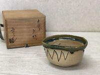 Y1672 CHAWAN Oribe-ware signed box Japanese bowl pottery Japan tea ceremony