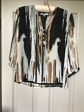 ANNABELLE cream grey black patterned Top tunic blouse chiffon loose Size UK14