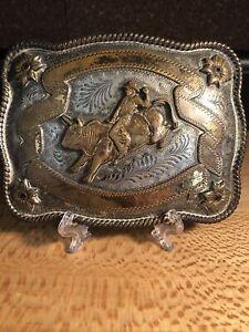 Vintage Mexico Banner Rodeo Award Belt Buckle