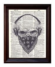 Skull Bandana - Dictionary Art Print Printed On Authentic Vintage Dictionary
