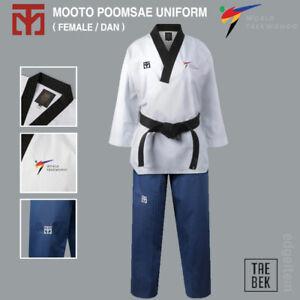 MOOTO Poomsae Uniform (Female) WT (World Taekwondo) Dan Dobok TAEBEK New Logo