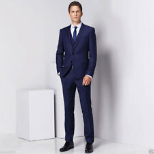Men's Blue 3 Piece Suit Slim Fit Groom Tuxedos Formal Wedding Smoking Prom Suit