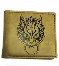 Final Fantasy Wallet Tan Faux Leather Dire Wolf Cloud Gamer Game Computer PS3