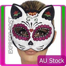 Ladies Sugar Skull Cat Glitter Eyemask Costume Accessories Masquerade Halloween
