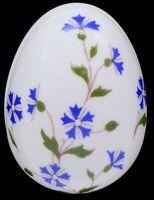 "Chamart Limoges France Barbeau Blue Flowers Jewelry Trinket Box Egg 2-5/8"""
