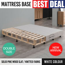 Mattress Base Double White Knitted Fabric Washable Cover Solid Pine Wood Slat