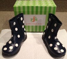 Puddle Jumpers Boots NEW With Box Size 6 Toddler Navy Blue With Polka Dots