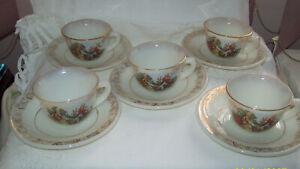 Milk Glass 5 Demitasse Cups & Saucers Victorian Lady & Gent Cristalerias Chile
