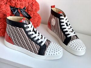 NEW CHRISTIAN LOUBOUTIN Lou Flat Spikes Sneakers High Top Red Black 44 AUTH