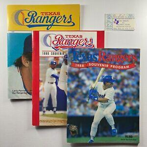 1985 1988 1990 Texas Rangers Souvenir Programs w/Ticket at Arlington Stadium