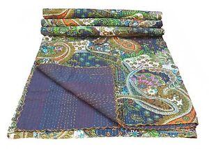 Paisley Print Vintage Cotton Indian Kantha Quilt Handmade Cotton Bedspread Gudri
