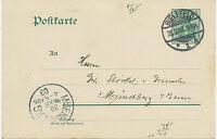 "DT.REICH 1903 ""BIELEFELD / 1"" K2 5 Pf Germania Kab.-GA-Postkarte n. ""MUENCHBERG"""